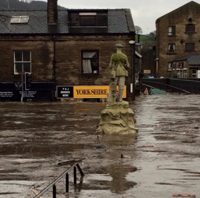 Mytholmroyd during the flooding