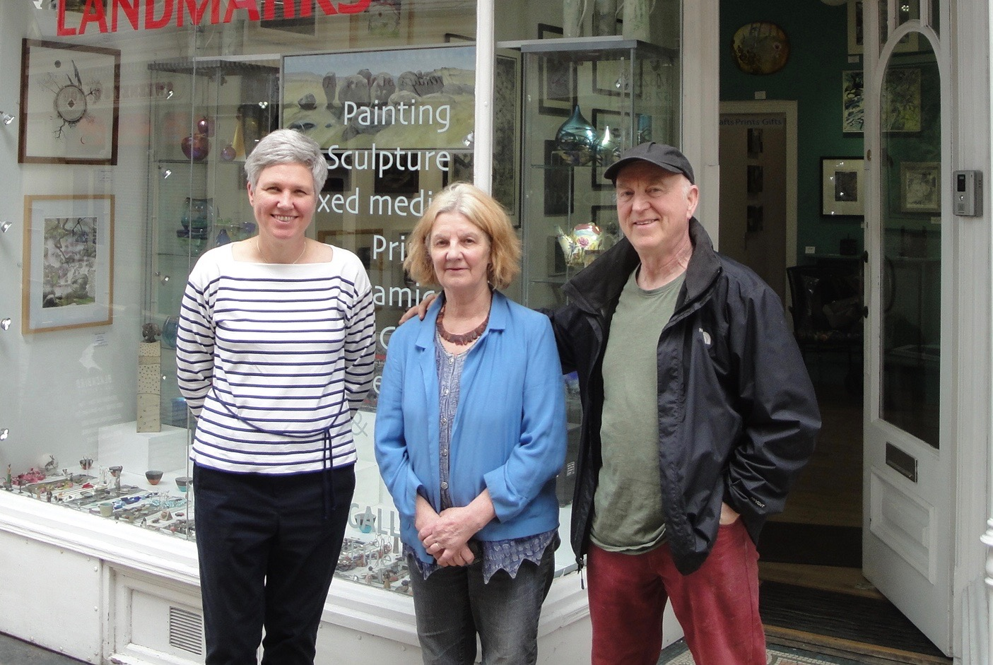 Sarah Moss (left) with Rosemary and Mike Holcroft, who run the Water Street Gallery in Todmorden